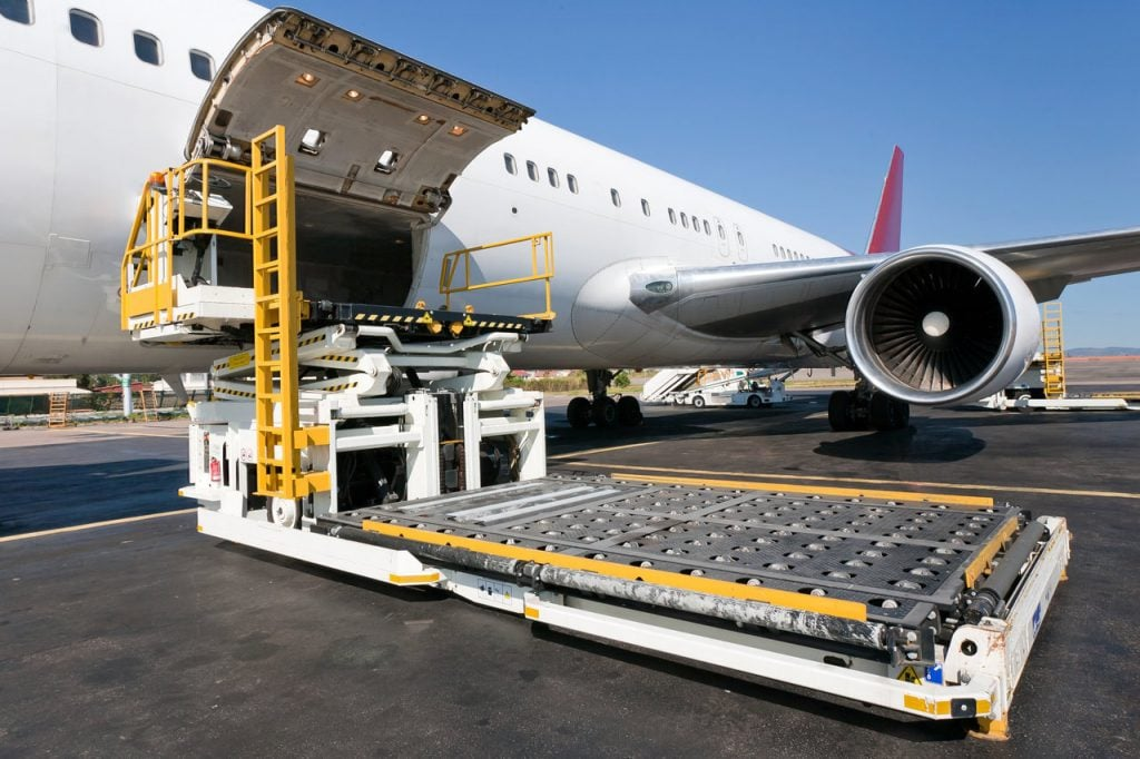 Air Shipments From The USA Loading An Aircraft With Cargo