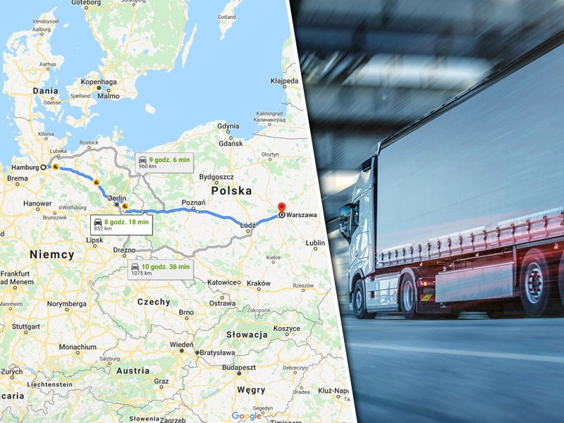Road Transport From Hamburg To Poland Map Showing Route And A Truck Going Through a Tunnel