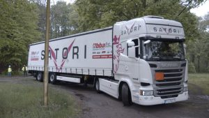 Road Freight From Hamburg To Poland Truck Maneuvering On A Paved Road